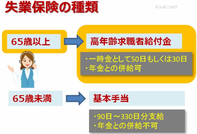 失業保険の種類(高年齢求職者給付金)の図
