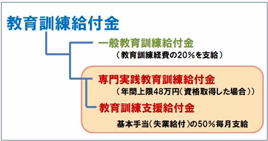 教育訓練給付金の仕組み(一般教育訓練給付金、専門実践教育訓練給付金、教育訓練支援給付金)